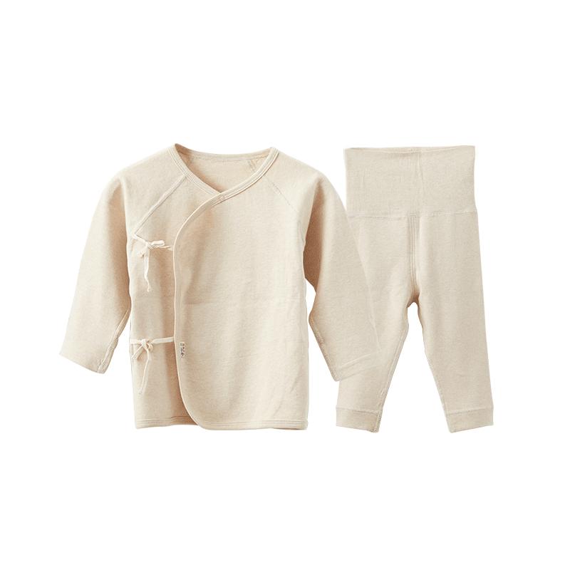 新生儿彩棉斜襟上衣+高腰长裤