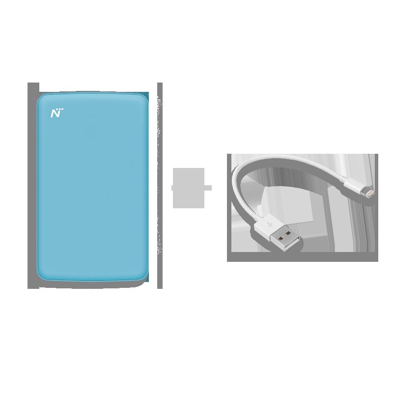 马卡龙移动电源(蓝色)+苹果快充电线(0.15m)