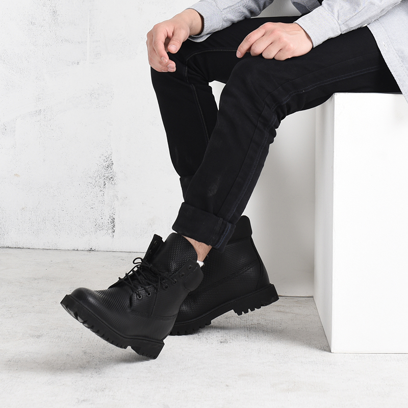 粒面牛皮防水工装男靴