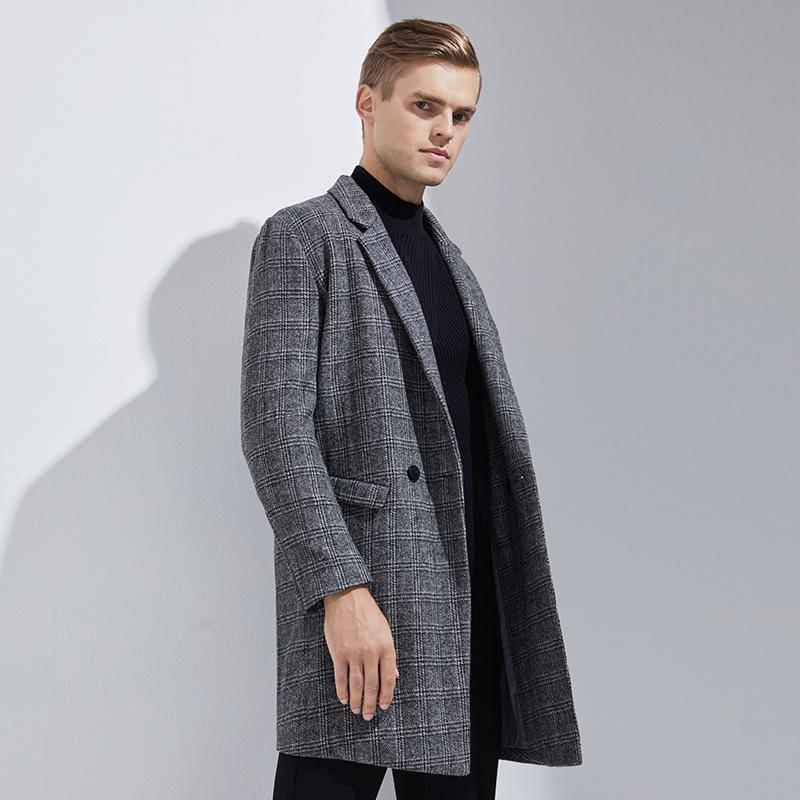 网易严选 100%新西兰羊毛 男士格纹毛呢大衣 两色