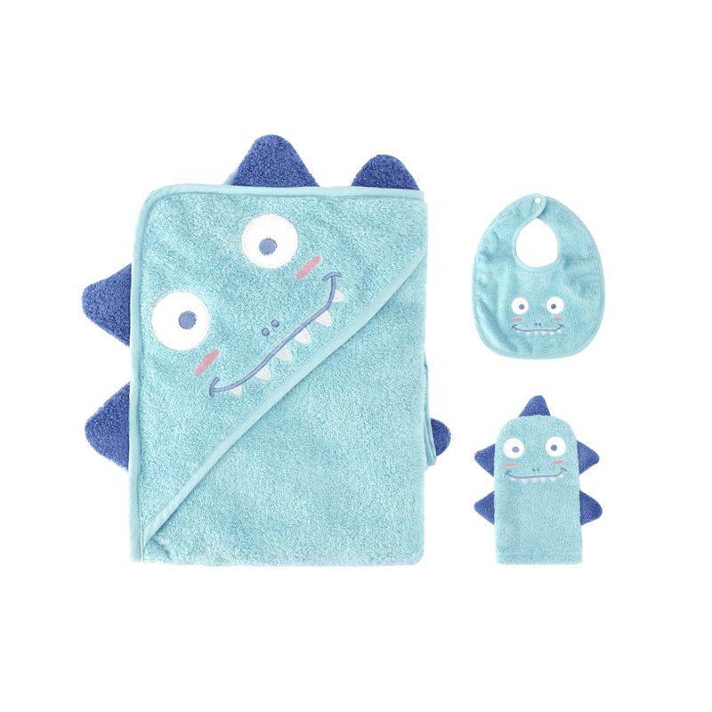 小怪兽超绒带帽浴巾礼盒(3件套装) (萌趣小恐龙 ; 浴巾:80x80cm;搓澡巾:12x22cm;围嘴:23x31cm)