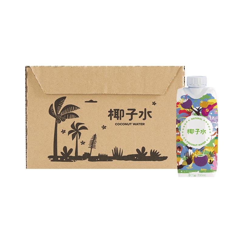 送现立减 椰子水 330毫升*12瓶 非浓缩还原,低卡零脂肪