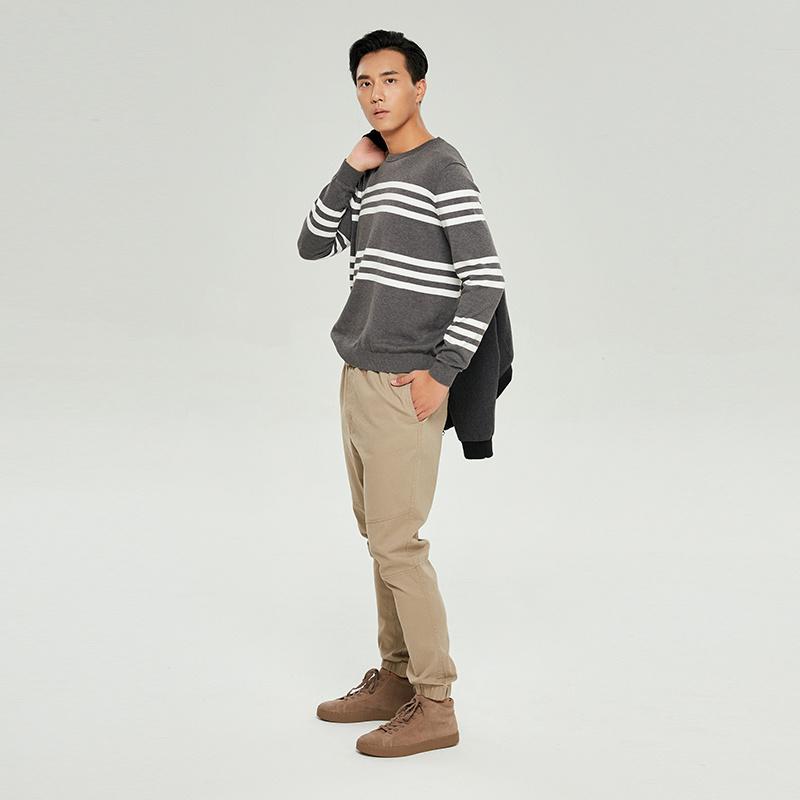 男式美国Supima棉条纹圆领针织衫 2色