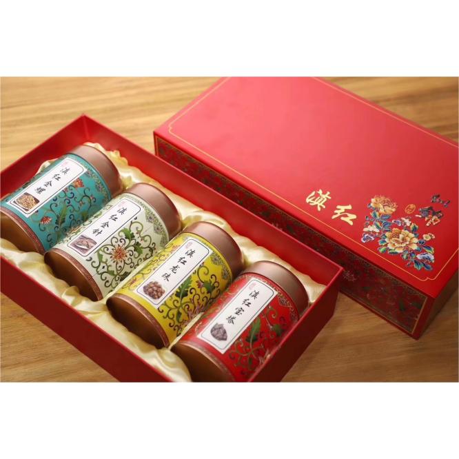 滇红四宝集齐了四种当下最流行的滇红,滇红金针、滇红宝塔、滇红龙珠、滇红金丝螺,一次性就带上四种茶 一盒一斤