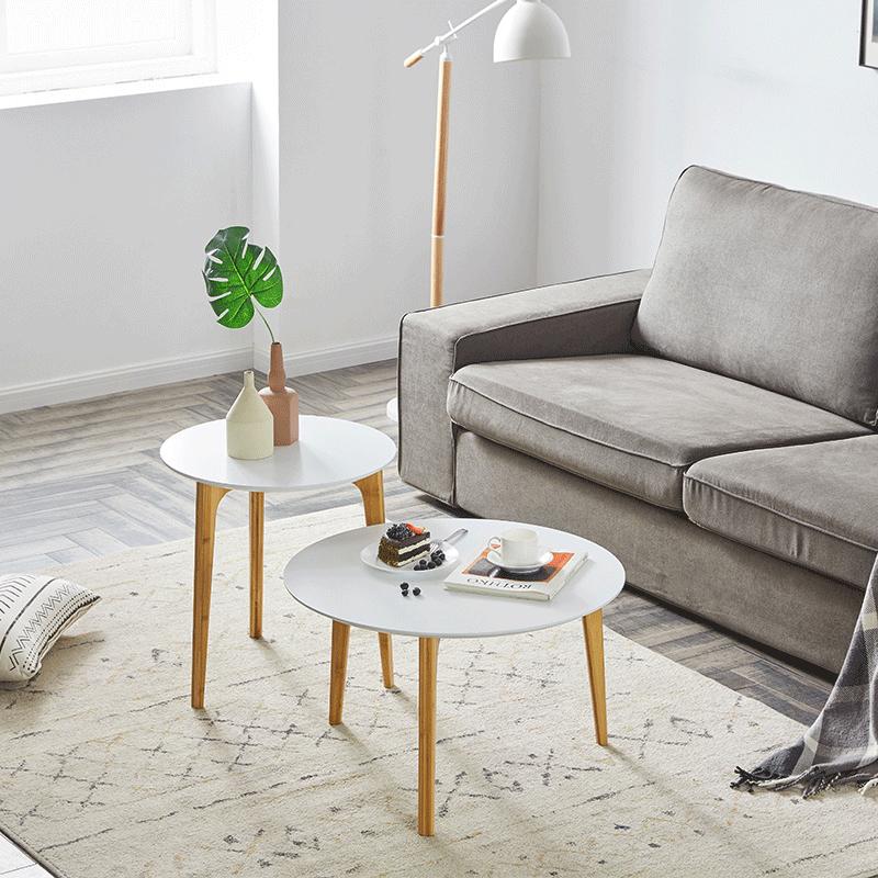 [아스코지] Askozy 모듈형 대나무원목 원형 커피테이블
