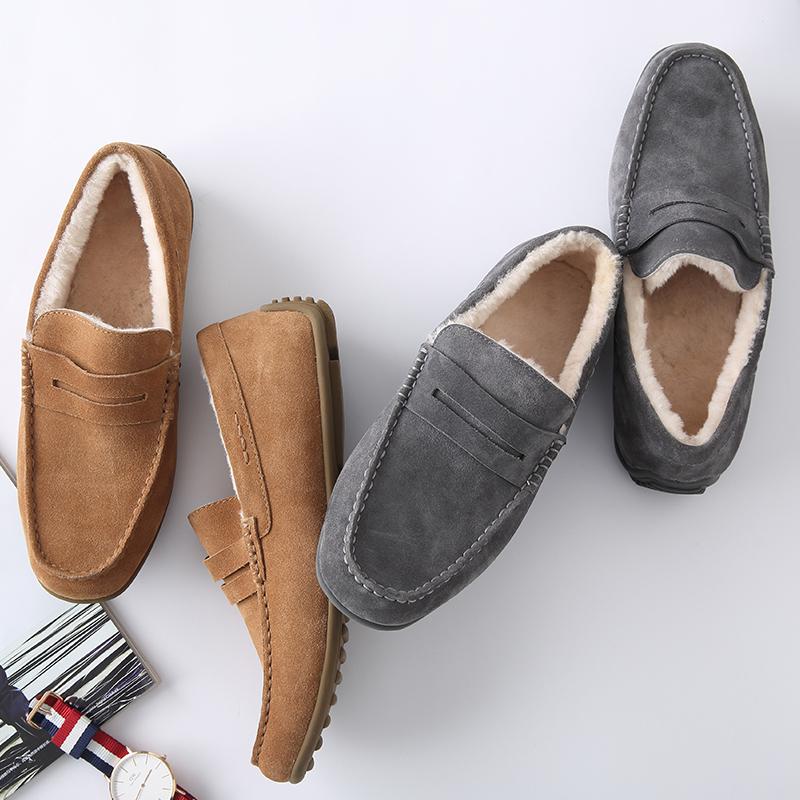 男式加绒皮毛一体豆豆鞋