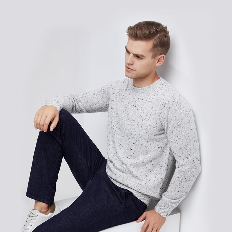 网易严选 纯山羊绒  男式彩点羊绒衫