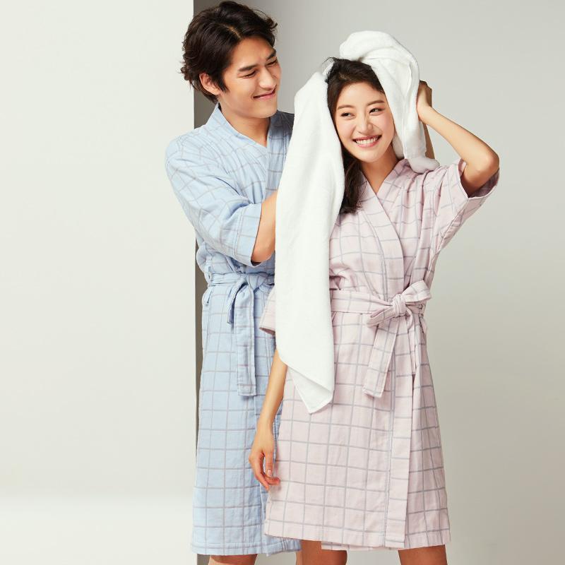 网易严选色织双层格子浴衣,送家里女生实用礼物