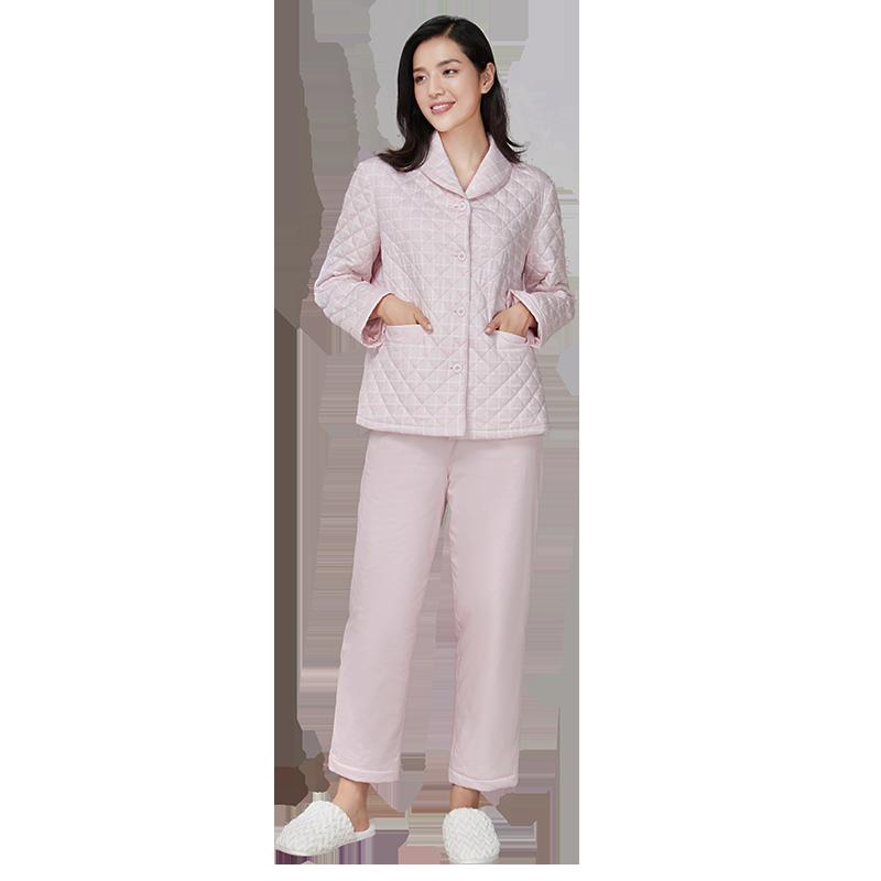 女式絎縫夾棉家居服套裝(上衣+褲子)
