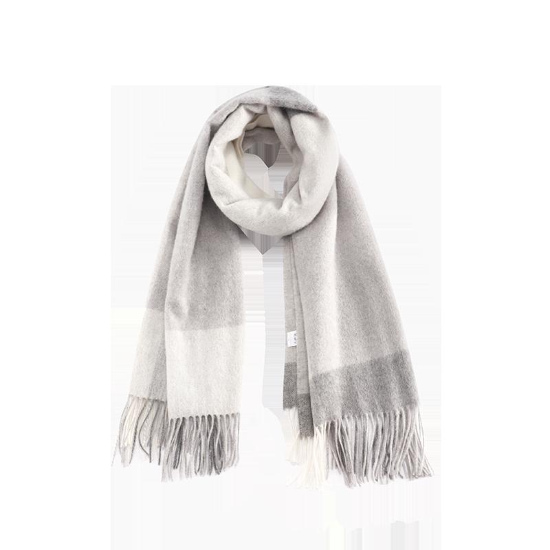 雅致羊绒混纺围巾 (浅灰)