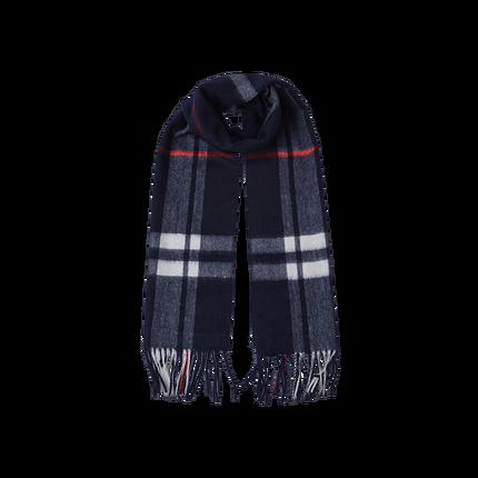 经典100%羊绒格纹围巾 (藏蓝)
