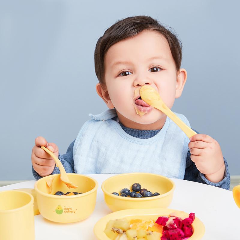 韩国制造 婴幼儿玉米餐具辅食碗套装