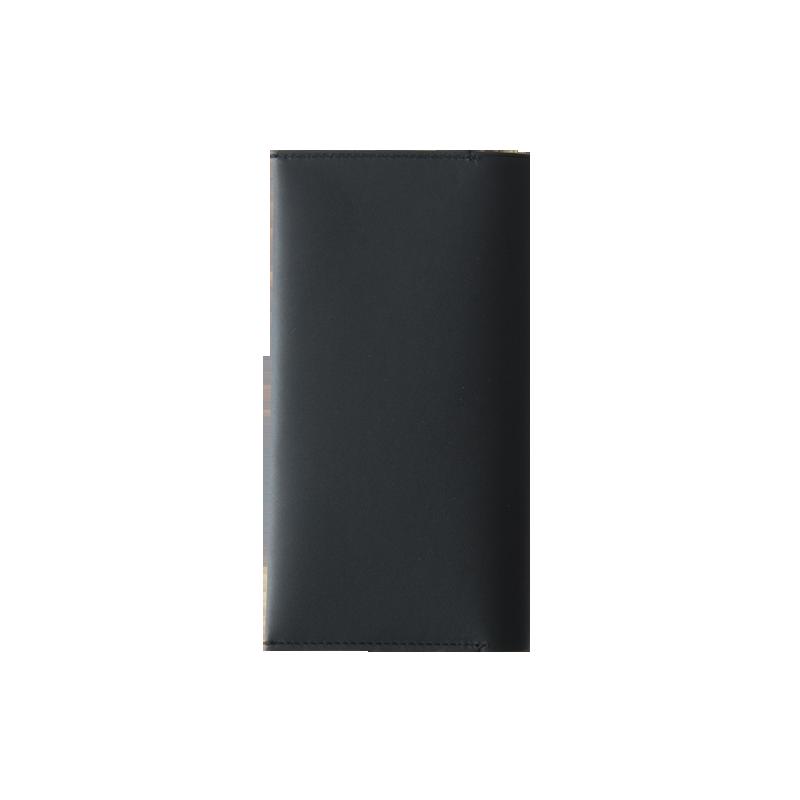 长款拼色头层牛皮手机钱包 (黑/红色)