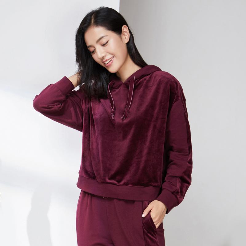 女式天鵝絨衛衣家居服套裝(上衣+褲子)
