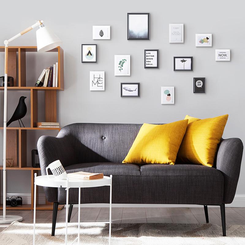 现代极简实木照片墙