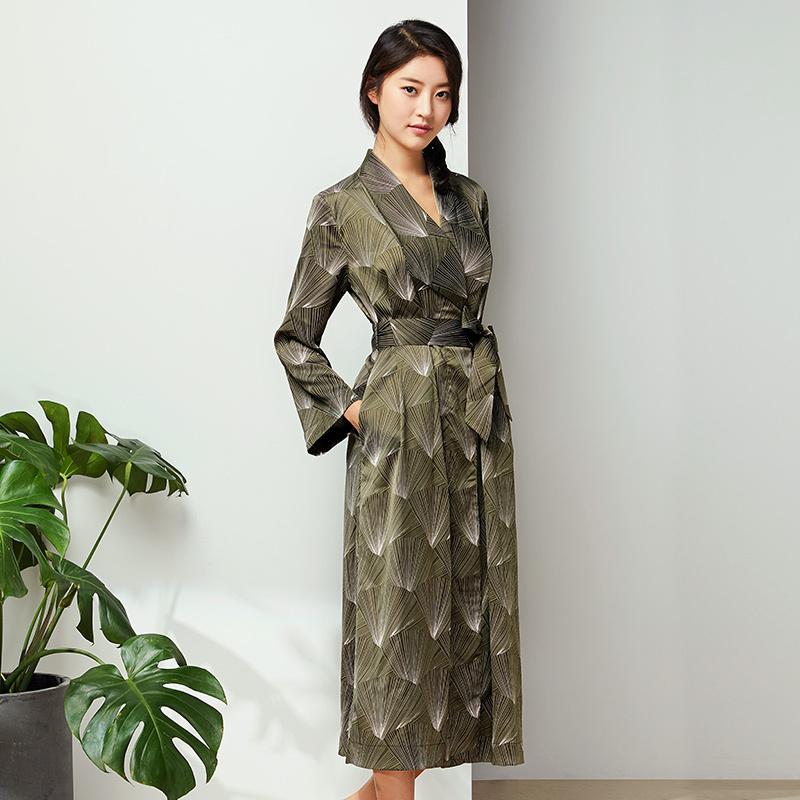 网易严选 设计师款 女式深绿印花睡袍