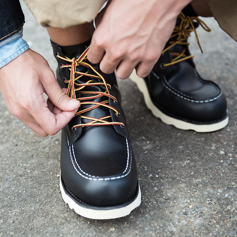 方头牛皮工装男靴