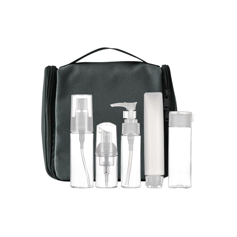 旅行分装瓶六件套+黑色洗漱包