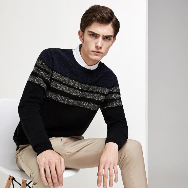 网易严选 男式条纹针织羊毛衫