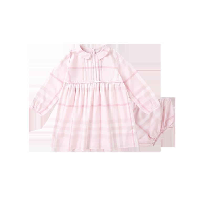 女婴童格纹连衣裙(含裤子)0-3岁