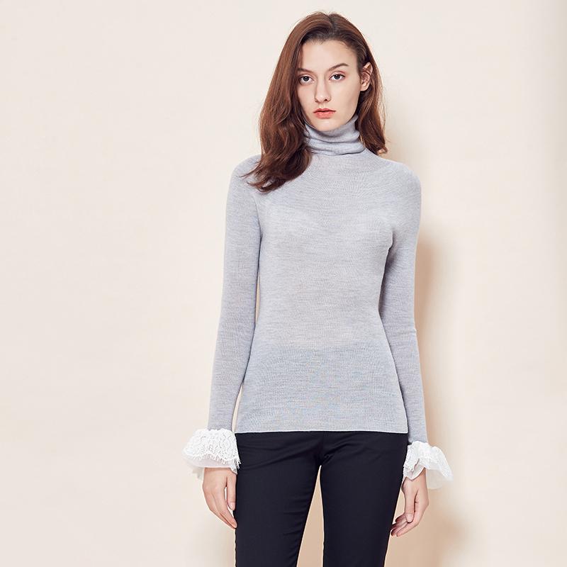 网易严选 女式全成型蕾丝袖高领杨子羊毛衫